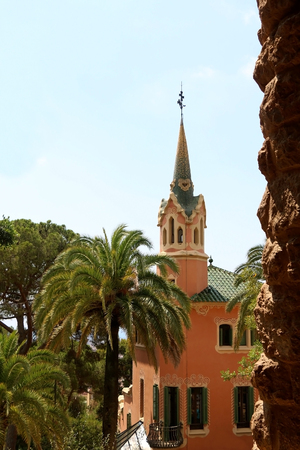 View of Park Güell with The Gaudi House Museum in Barcelona, Spain.