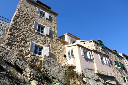 Historical traditional houses on a cliff, landmark in Split, Croatia.