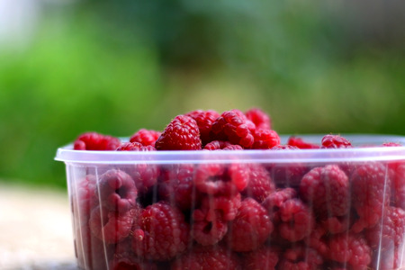 Freshly picked raspberries in a plastic packaging, in a garden. Selective focus, green background.