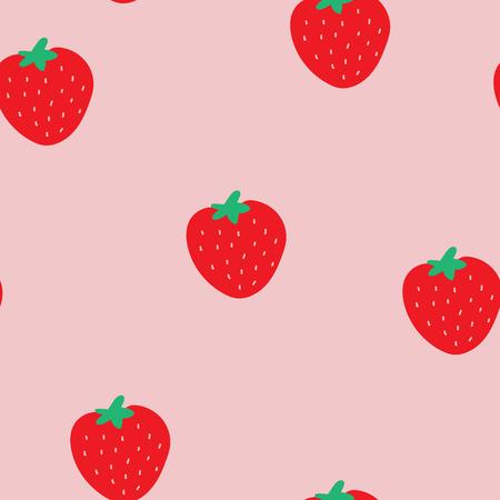 Modèle sans couture avec fraises et fond rose.