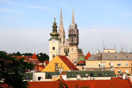 Panoramic view of Zagreb, Croatia with landmark Cathedral of the Assumption of the Blessed Virgin Mary and St. Mary Church. Фото со стока