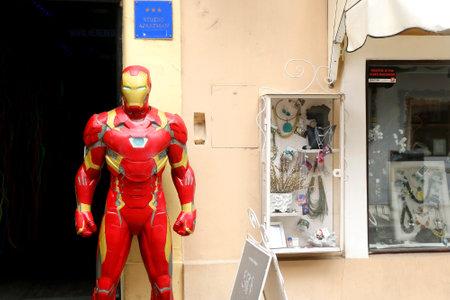 Zagreb, Croatia - June 15, 2019: Iron Man statue in picturesque Tkalciceva street in central Zagreb, Croatia.