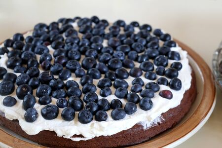 Chocolate cake with whipped cream and blueberries. Selective focus.