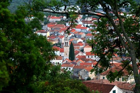 Traditional architecture in town Vela Luka, on island Korcula, Croatia, seen through trees. Selective focus.