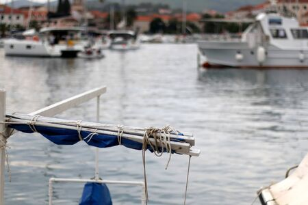 Detail of small traditional boat in town Vela Luka, on island Korcula, Croatia. Selective focus.