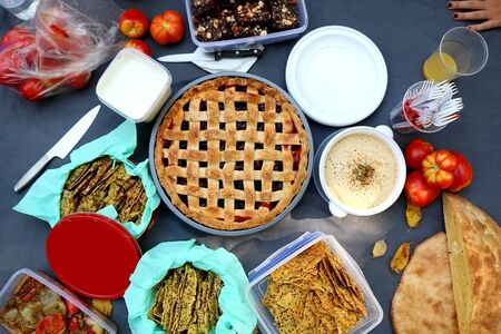 Autumn picnic with apple pie, bread, crackers, roaasted peppers, tomatoes and brownies on a gray blanket. Top view. Banco de Imagens
