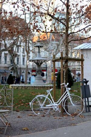 Christmas decorations in the park Zrinjevac, in central Zagreb, Croatia. Selective focus. Stock Photo
