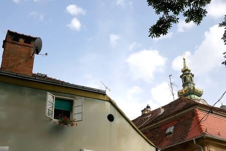 Old traditional houses in uptown Zagreb, Croatia. Selective focus. 免版税图像
