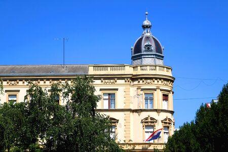 Historic neoclassical architecture in down town Zagreb, Croatia.