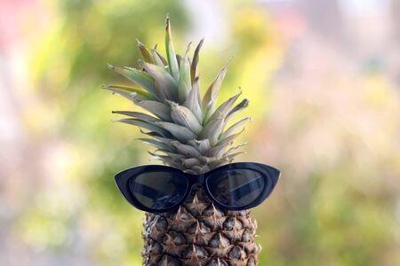 Pineapple with sunglasses. Selective focus, naturla green bokeh. Summer concept. Zdjęcie Seryjne - 143135717
