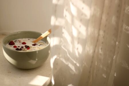 Breakfast bowl with oatmeal, berries and coconut chips, illuminated by morning sunlight. Selective focus.
