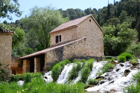 Plants, old traditional water mill and waterfalls on river Krka, in National Park Krka, Croatia. Selective focus.