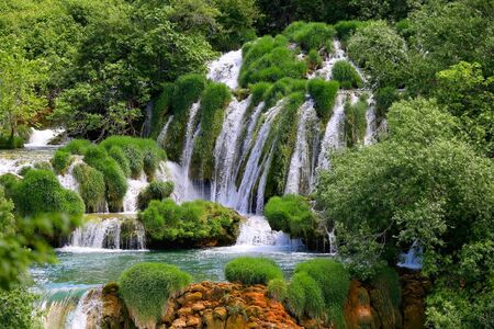 Beautiful waterfalls in National Park Krka, Croatia. Krka is popular summer travel destination.