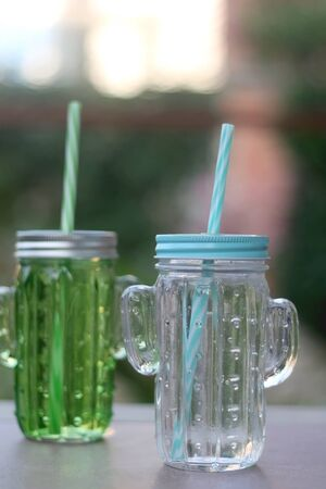 Two glasses, shaped like cacti, filled with cold water and served in a garden. Selective focus.