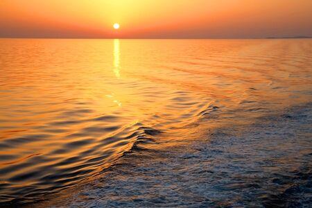 Beautiful sunset over the sea in southern Dalmatia, Croatia. Standard-Bild