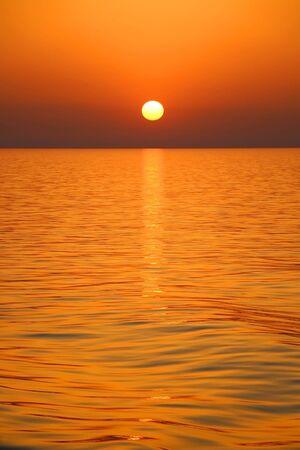 Beautiful sunset over the sea in southern Dalmatia, Croatia. Foto de archivo