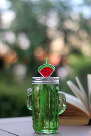 Cactus shaped bottle of water and open book in a garden. Selective focus.