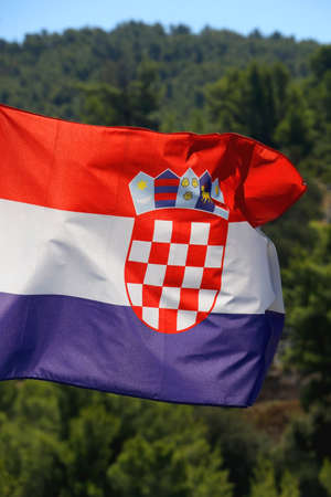 Flag of Croatia blowing in the wind. Forest in the background. Selective focus. Stock fotó