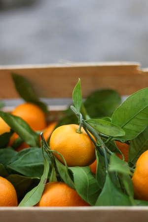Wooden crate with fresh tangerines. Selective focus. 版權商用圖片