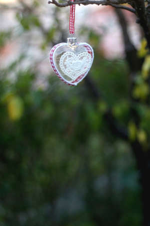 Heart shaped Christmas ornament, hanging in the garden. Selective focus.
