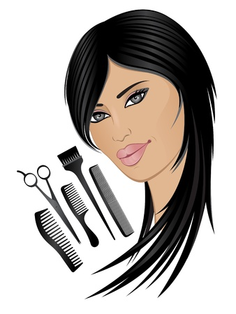 Model and hair set Vector