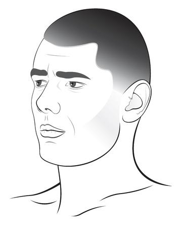wrinkled face: Man Illustration