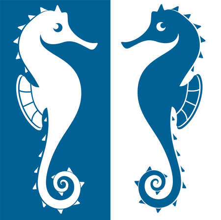 Silhouettes of seahorses