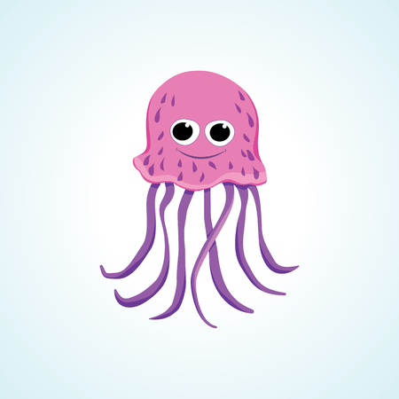 Cute Jellyfish isolated vector drawing in cartoon style