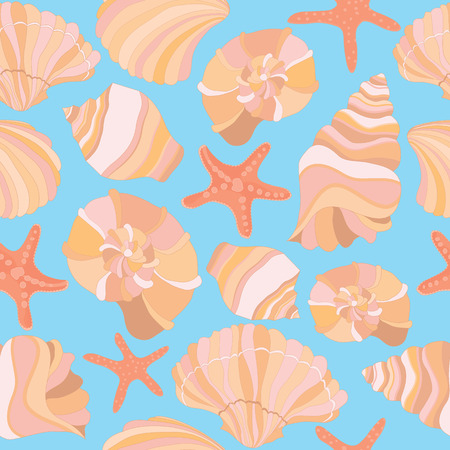 Elegant seamless vector pattern with seashells and starfish, vector illustration.Can be used for wallpaper, banner, pack, web page.