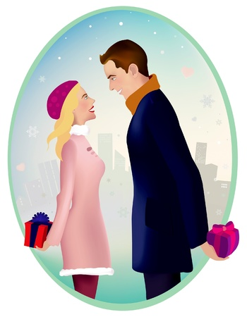 back to back couple: Man and woman are standing outside, ready to give each other a present Illustration