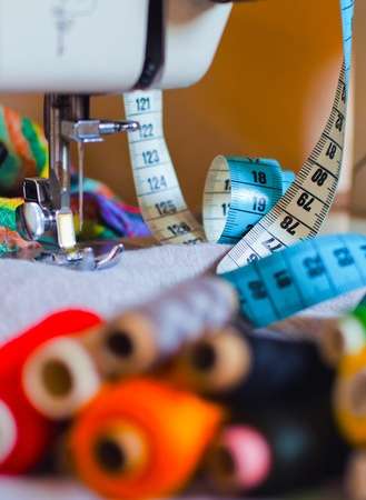 avocation: Sewing tools and a colorful material