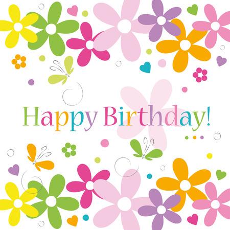 flores de cumpleaños: corazones flores y mariposas tarjeta de feliz cumpleaños en el fondo blanco
