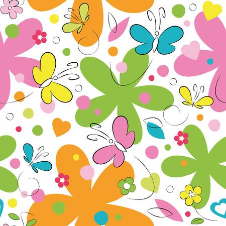 흰색 배경에 나비와 꽃 패턴 일러스트