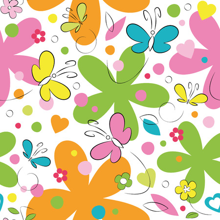 butterflies and flowers pattern on white background