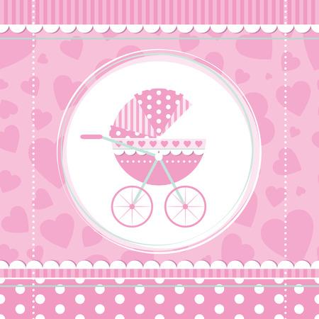 pink girl baby stroller  Vector