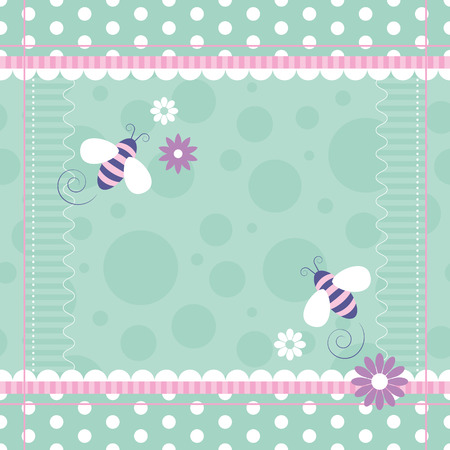 cute bees greeting card  Vector