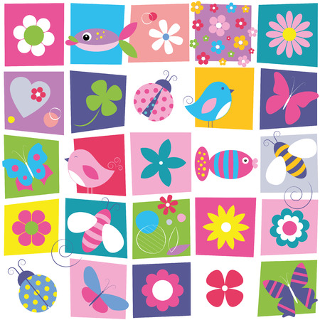 birthday cartoon: birds bees ladybugs butterflies fish and flowers pattern