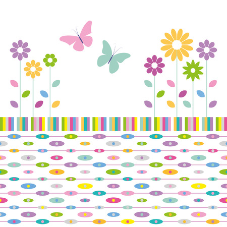 flowers and butterflies on colorful abstract pattern