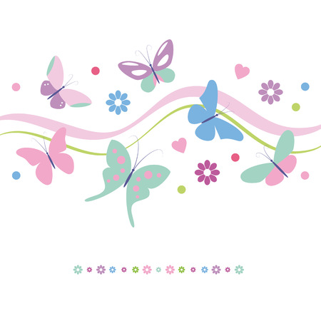 lovely colorful butterflies flowers and hearts greeting card  Vector