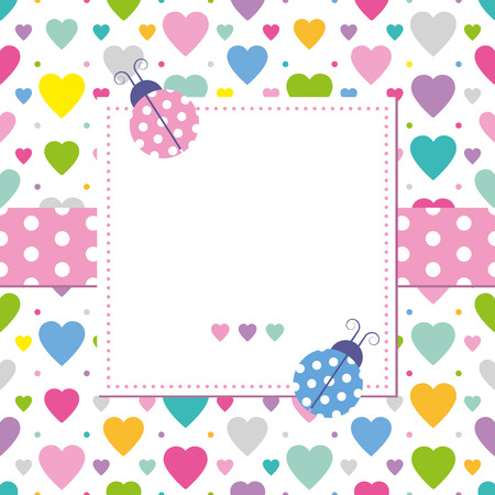cute border: ladybugs and hearts greeting card
