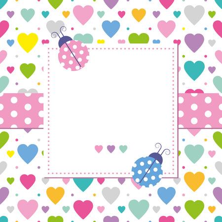dekorativa mönster: nyckelpigor och hjärtan gratulationskort