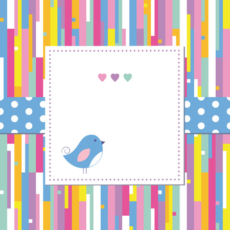 blue bird and hearts on colorful abstract pattern greeting card Vector