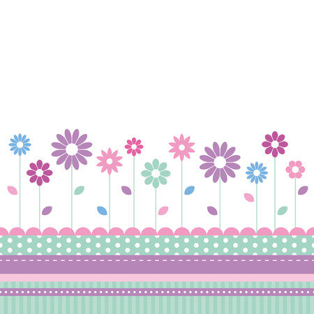 baby girl: flowery meadow greeting card  Illustration