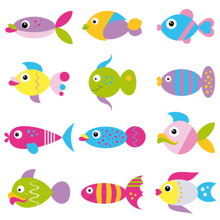 colorful cartoon funky fish collection pattern  Vector
