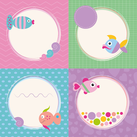 baby stickers: funky cartoon fish greeting cards collection  Illustration