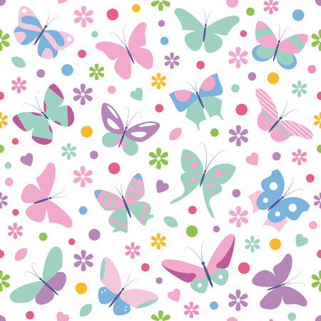 butterflies flowers hearts and dots pattern  Vector
