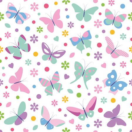 flores de cumpleaños: mariposas flores corazones y el patrón de puntos Vectores