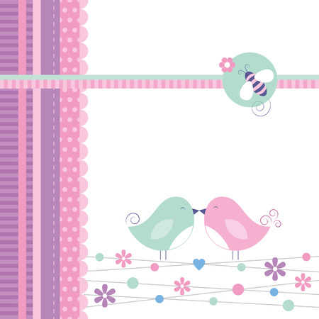 love birds greeting card  Vector