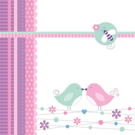 love birds greeting card  Vector