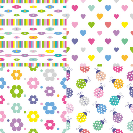 abstract, hearts, flowers and ladybugs pattern collection  Illustration